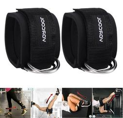 1 pair Weight Lifting Ankle D-Ring Pulley Cable Attachment G