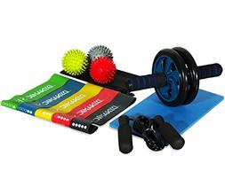 4-in-1 Workout Equipment Set AB Wheel Roller 5 Resistance Ba