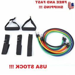 11 Pcs/Kit Rubber Latex Fitness Resistance Bands Yoga Elasti