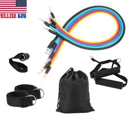 11 PCS Resistance Band Set Full Body Exercise Fitness Home T