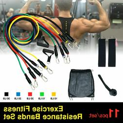 11 PCS Resistance Band Set Yoga Abs Exercise Fitness Tube Gy