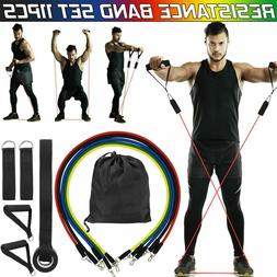 11 PCS Resistance Band Set Yoga Pilates Abs Exercise Fitness