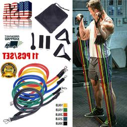 11 Pieces Resistance Trainer Set Exercise Fitness Tube Gym W
