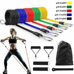 11PC Elastic Resistance Bands Sets Workout Rubber For Fitnes