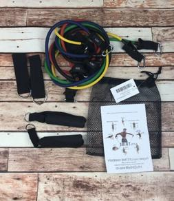 Tribe 11pc Resistance Band Set Door Anchor Handles Ankle Str