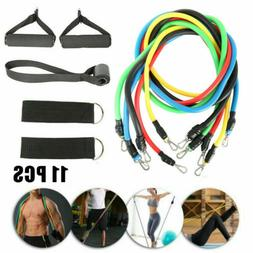 11pc Fitness Resistance Bands Gym Kit Tubes with Handle Door