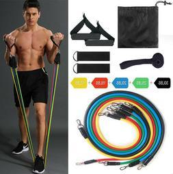 11PCS Resistance Band Set Yoga Pilates Abs Exercise Fitness