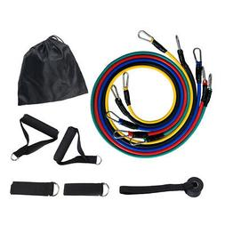11pcs Resistance Bands Fitness Exercise Bands with Door Anch