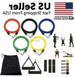 11PCs Resistance Bands Set Workout Bands with Metal Clips Ha