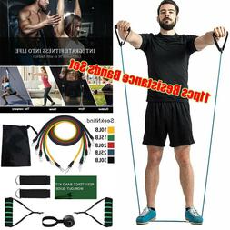 11PCS Resistance Bands Set Yoga Pilates Latex Exercise Fitne