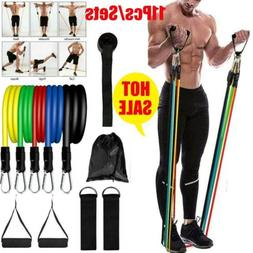 11PCS/Set Pilates Resistance Bands Yoga ABS Exercise Fitness
