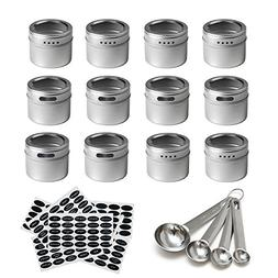 12 Magnetic Spice Tins & 2 Types of Spice Labels by Neverles