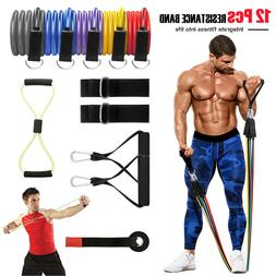 12 Pcs Resistance Bands Set Workout Bands With Metal Clips H