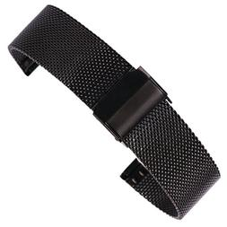 12mm Charming Black Mesh Watch Band Milanese Loop Stainless