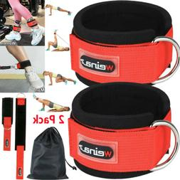 2 Gym Exercise Ankle Straps Weight Lifting Fitness D Ring Ca