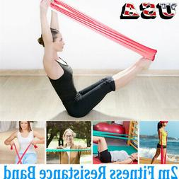 2m Elastic Resistance Stretch Yoga Bands Fitness Exercise Le