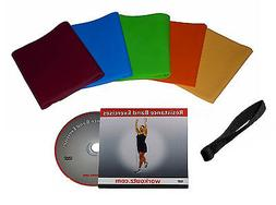 Workoutz 5 Piece Latex-Free Resistance Band Set With Dvd And