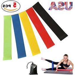 5 Resistance Bands Loop Exercise Yoga Crossfit Workout Band