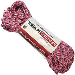 Paracord Planet 550 lb, 100' Foot Hank, Neon Pink Camo Parac
