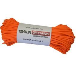 PARACORD PLANET 550 100 Foot Hank Neon Orange Parachute Cord