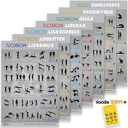 "7 Exercise & Fitness Posters | 30""x20"" Large Laminated G"