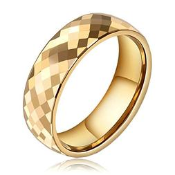 Beydodo Tungsten Rings Anniversary 8mm Gold Thumb Ring Polis
