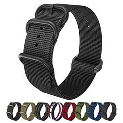 Emibele 22mm Universal Watch Band, Fine Woven Nylon with Sta