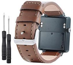 KingBaas For Garmin Vivoactive,Classy Genuine Leather Wristb