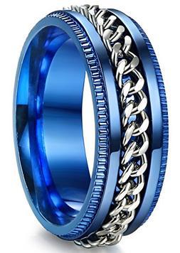 ORAZIO 8MM Stainless Steel Ring for Men Chain Rings Biker Gr