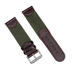 YQI Men's Calfskin Leather and Nylon NATO Watch Strap Swiss-