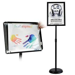 T-Sign Adjustable Pedestal Poster Stand Aluminum Snap Open F