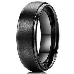 King Will Basic 7mm Black Ceramic Wedding Ring Matte Finishe