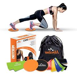 Mercitons 2 Workout Core Sliders & 6 Resistance Bands for Wo