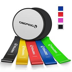 Dopobo Beachbody Gliding Discs and 5 Resistance Bands for 80