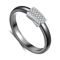 Black Ceramic S925 Sterling Silver Rings for Women Wedding E
