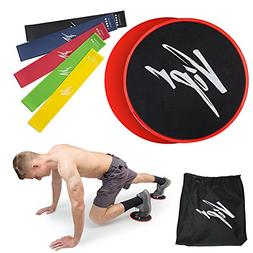 Core Sliders & 5 Resistance Loops Bands | Gliding Discs & Ex