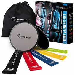 Core Sliders and Resistance Bands – 2 Gliding Discs & 5 Re