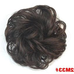 Curly Chignon With Rubber Band Heat Resistance Synthetic Scr