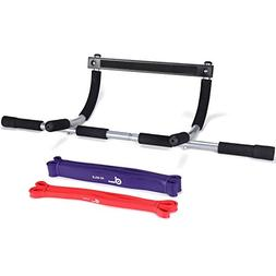 Odoland Doorway Pull-Up Bar with 2 Sets Assisted Bands, Heav