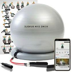 So Alpha Premium Exercise Ball with 15LB Resistance Bands, S