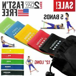 Exercise Bands Resistance Set Fitness Workout Stretch Elasti