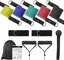 NGreen Exercise Bands with Handles Set - 150 LBS Anti-Snap R