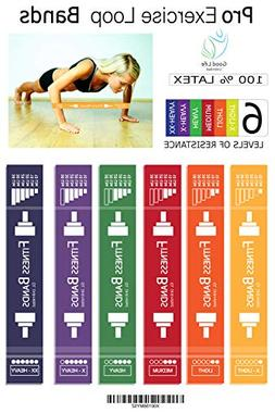 Pro Exercise Loop Resistance Bands Set - 6 Extra Wide Resist