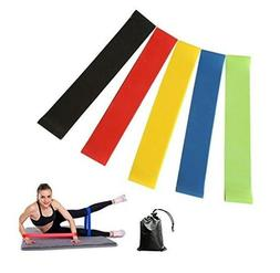 Exercise Resistance Loop Exercise Bands Set of 5 with Carry