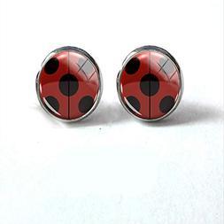 Fashion Miraculous Ladybug Anime Tikki Glass Cabochon Earrin