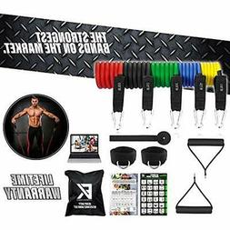 Fitness Exercise Bands Kings Heavy Duty Resistance Set 11Pc