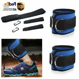 Ankle Straps Gym Exercise Weight Lifting Fitness D Ring Cabl