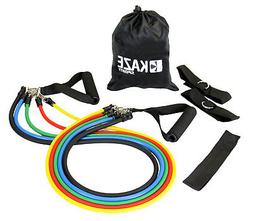 Kaze Sports Fitness Resistance Band Set with Door Anchor, An