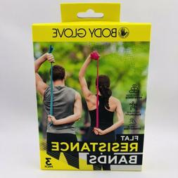 Flat Resistance Bands 3 Pack Body Glove Workout Gym
