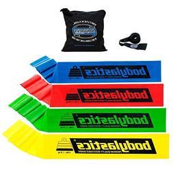 Bodylastics Premium Flat Resistance Bands Set. Includes 4 Fl